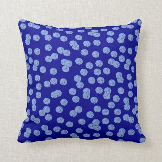 Blue Polka Dots Polyester Throw Pillow 16'' x 16''