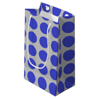 Blue Polka Dots Silver Small Gift Bag