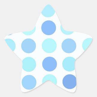 Blue Polka Dots Star Sticker