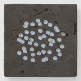 Blue Polka Dots Travertine Coaster
