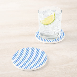 Blue Polka Dots with Customizable Background Beverage Coasters