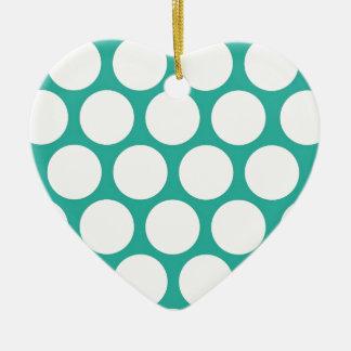 Blue polka doty ceramic heart decoration