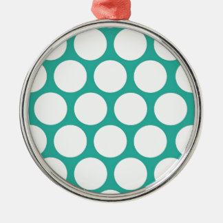 Blue polka doty Silver-Colored round decoration