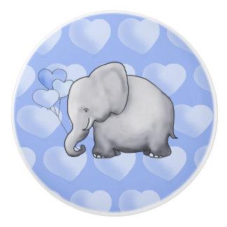 Blue Polka Hearts Elephants Baby Boy Nursery Ceramic Knob