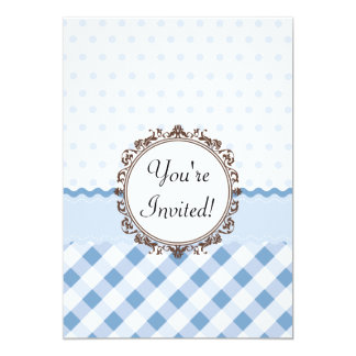 Blue Polkadots, Checks and Stripes with Monogram 13 Cm X 18 Cm Invitation Card