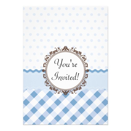 Blue Polkadots, Checks and Stripes with Monogram Announcements