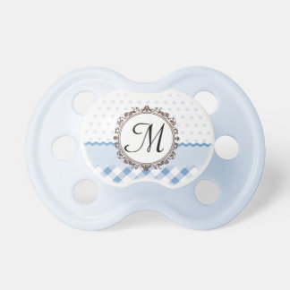 Blue Polkadots, Checks and Stripes with Monogram Pacifiers