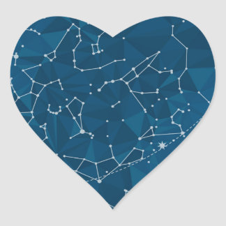 Blue Polygon Night Sky Heart Sticker