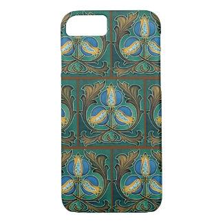 Blue Pomegranate Faux Majolica Tile iPhone Case