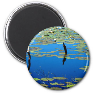 Blue Pond 6 Cm Round Magnet