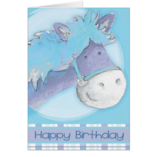 Blue pony horse watercolor art Birthday Card
