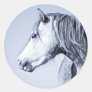 Blue Pony Round Sticker