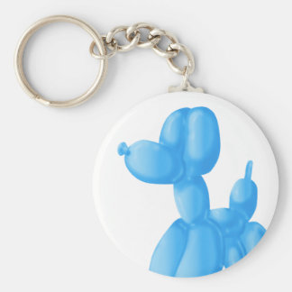 Blue Poodle Basic Round Button Key Ring