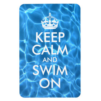 Blue Pool Water Keep Calm and Swim On Magnet