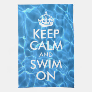 Blue Pool Water Keep Calm and Swim On Tea Towel