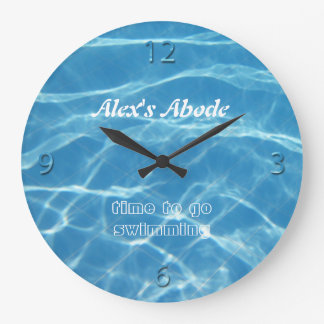 Blue Pool Water Numbers Clear Aquatic Cool Swimmer Large Clock