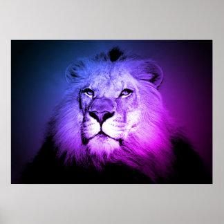 Blue Pop Art Lion - Wild Animal Photography Poster