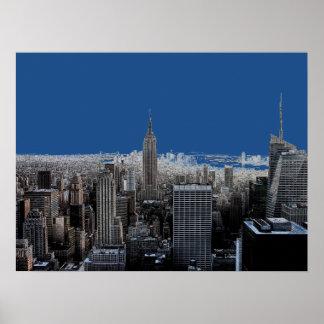 Blue Pop Art New York City Evening Poster Print