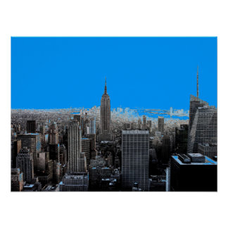 Blue Pop Art New York City Poster Print