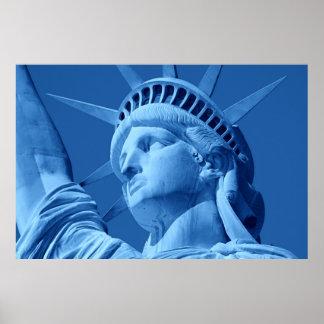 Blue Pop Art Statue of Liberty Poster