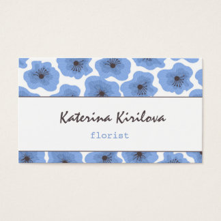 Blue poppies business card