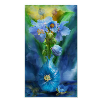 Blue Poppies In Poppy Vase Art Poster/Print Poster