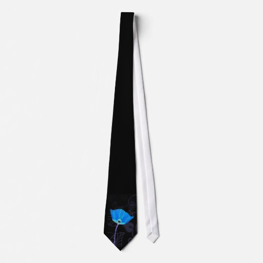 Blue Poppy Art Deco Tie