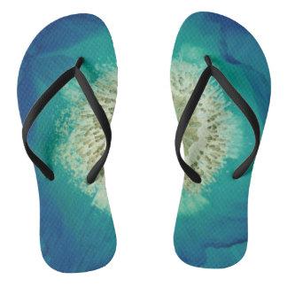 Blue Poppy Flip Flops