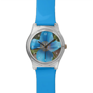 Blue Poppy Floral Wrist Watch