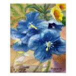 Blue Poppy Watercolor Close U Poster