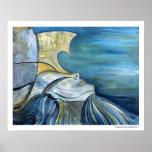 Blue Portrait Sirena Sea Mythical Fantasy Poster