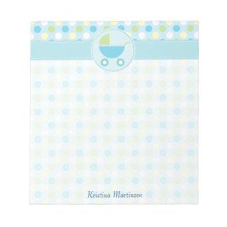 Blue Pram and Polka Dots Notepad