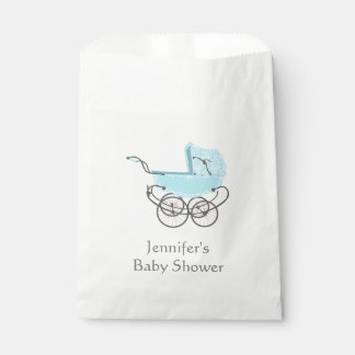 Blue Pram Baby Shower Favor Bag