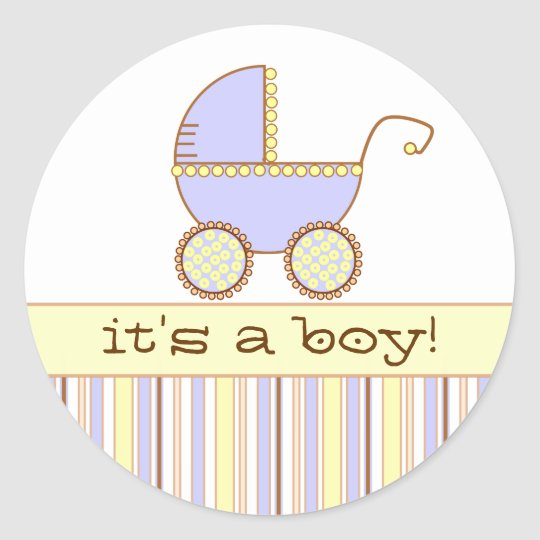 Blue Pram - It's a Boy! Classic Round