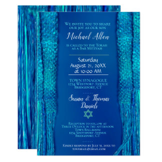 Blue  Prayer Shawl Bar Mitzvah Card
