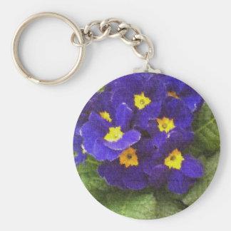 Blue Primroses Basic Round Button Key Ring