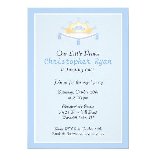 Blue Prince Crown Birthday Party Invitation
