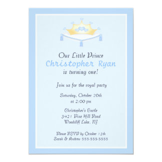 Blue Prince Crown Birthday Party Invitation