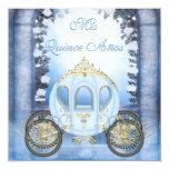 Blue Princess Carriage Enchanted Quinceanera 13 Cm X 13 Cm Square Invitation Card