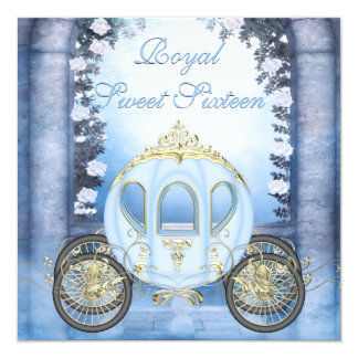 Blue Princess Carriage Enchanted Sweet 16 5.25x5.25 Square Paper Invitation Card