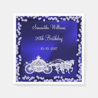 Blue Princess Coach & Horses 20th Birthday Paper Napkins