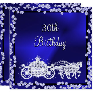 Blue Princess Coach & Horses 30th Birthday Card