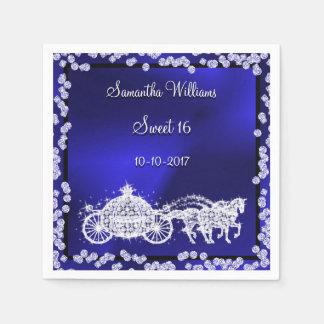 Blue Princess Coach & Horses Sweet 16 Paper Napkins