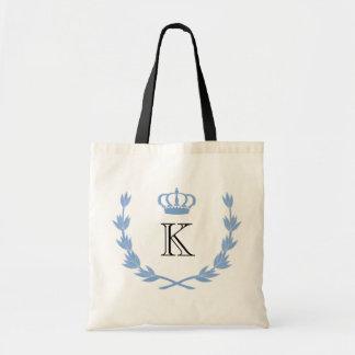 Blue Princess Crown & Monogram Budget Tote Bag