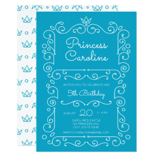 Blue Princess Scroll Birthday Invitation