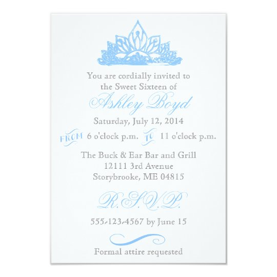 Blue Princess Sweet Sixteen Invitation