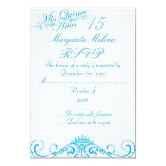 Blue Princess Tiara Quinceanera RSVP 9 Cm X 13 Cm Invitation Card
