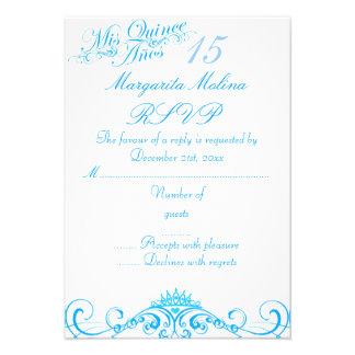 Blue Princess Tiara Quinceanera RSVP Custom Invites