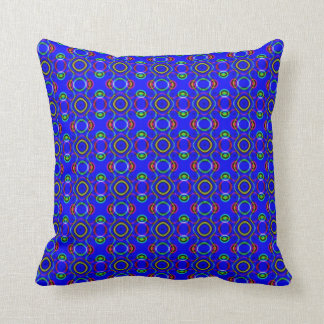 Blue Psychedelic Circles Throw Pillow