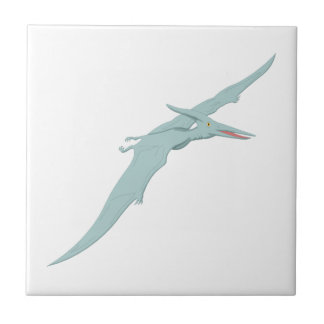 Blue Pterodactyl Dinosaur 4 Small Square Tile